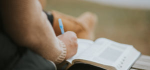 Taking Notes in Bible Picture